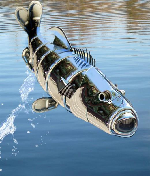 pez robot fotomontaje